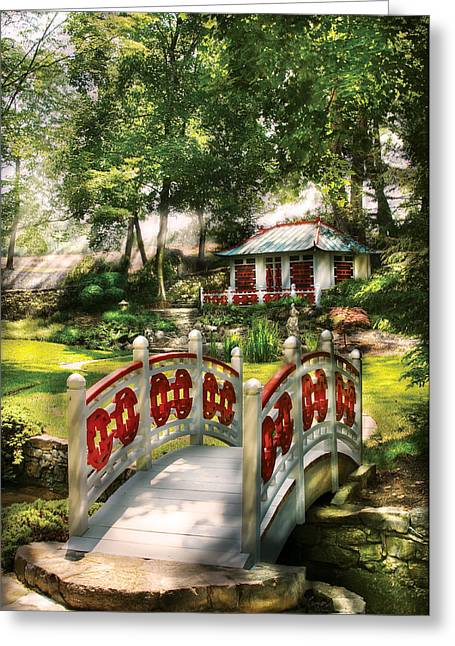White Frame House Greeting Cards - Orient - Bridge - The bridge to the Temple  Greeting Card by Mike Savad