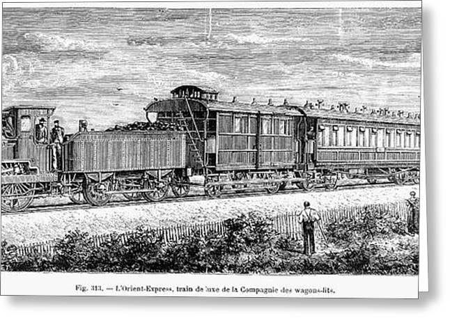 Engraving Greeting Cards - Orient Express Train Greeting Card by Granger