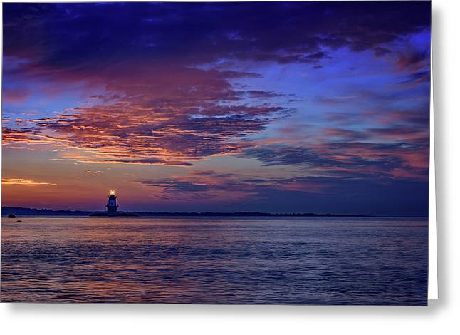 Orient Point Lighthouse At Sunrise Greeting Card by Rick Berk
