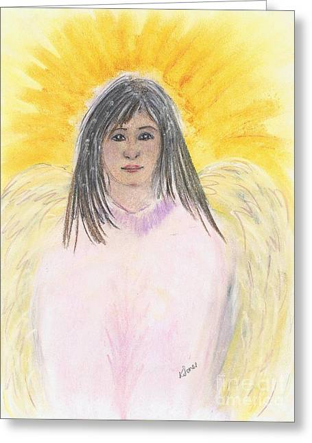 Innocence Pastels Greeting Cards - Oriental Angel Greeting Card by Karen J Jones