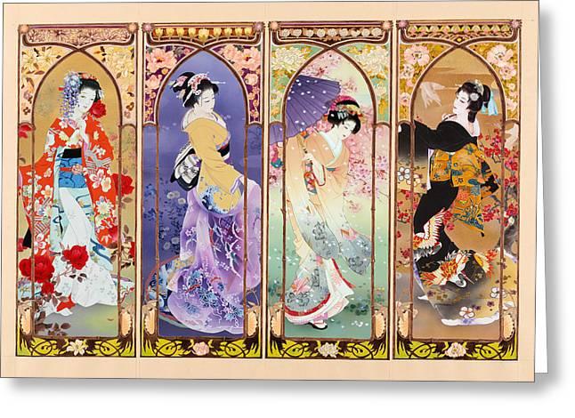 Black Frame Greeting Cards - Oriental Gate Multi-pic Greeting Card by Haruyo Morita