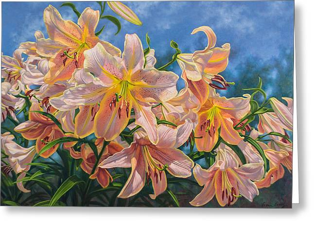 Chicago Botanic Garden Greeting Cards - Oriental Lilies 2 Red Hot Greeting Card by Fiona Craig