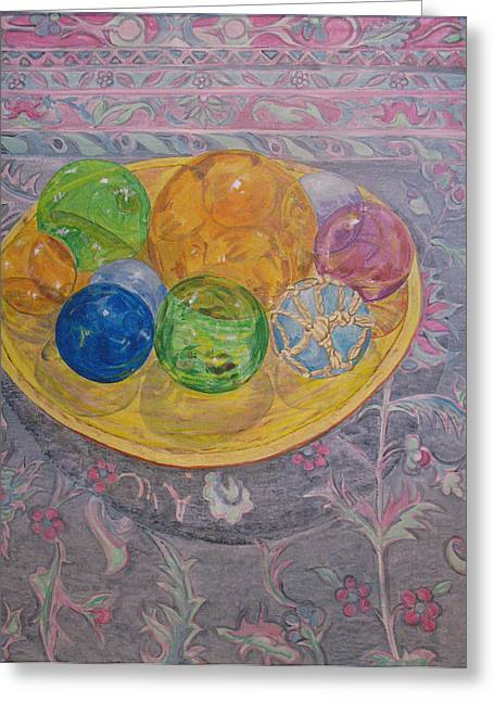 Wooden Bowls Paintings Greeting Cards - Oriental Study Greeting Card by Marla Ripperda