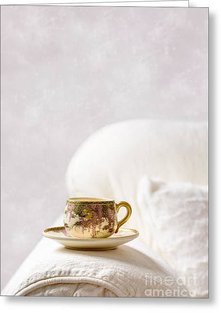 Oriental Teacup And Saucer Greeting Card by Amanda Elwell