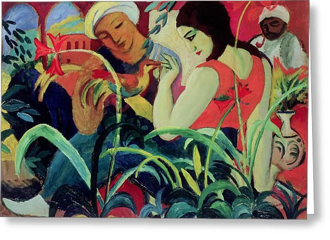 Frau Greeting Cards - Oriental Women Greeting Card by August Macke