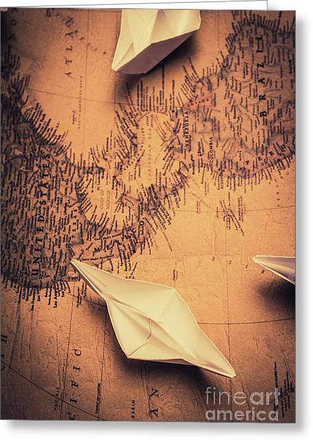 Origami Boats On World Map Greeting Card by Jorgo Photography - Wall Art Gallery