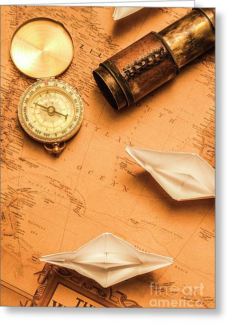 Origami Paper Boats On A Voyage Of Exploration Greeting Card by Jorgo Photography - Wall Art Gallery