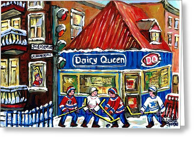 Hockey Paintings Greeting Cards - Original Canadian Hockey Art Paintings For Sale Snowfall At Dairy Queen Ville Emard Montreal Winter  Greeting Card by Carole Spandau