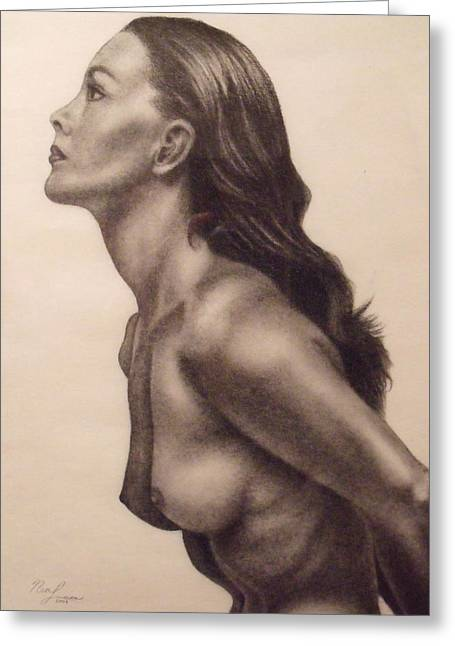 """indoor"" Still Life Drawings Greeting Cards - Original Charcoal Nude Female Profile Study Greeting Card by Neal Luea"