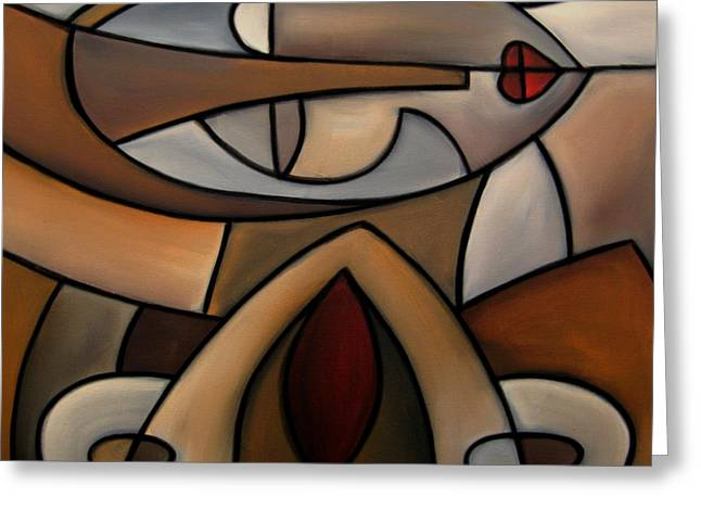 Original Cubist Art Painting - Mama Greeting Card by Tom Fedro - Fidostudio