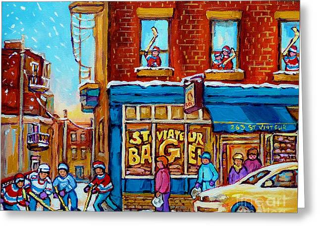 Hockey Paintings Greeting Cards - Original Hockey Art St Viateur Bagel Paintings For Sale Street Hockey In The Laneway Canadian Winter Greeting Card by Carole Spandau