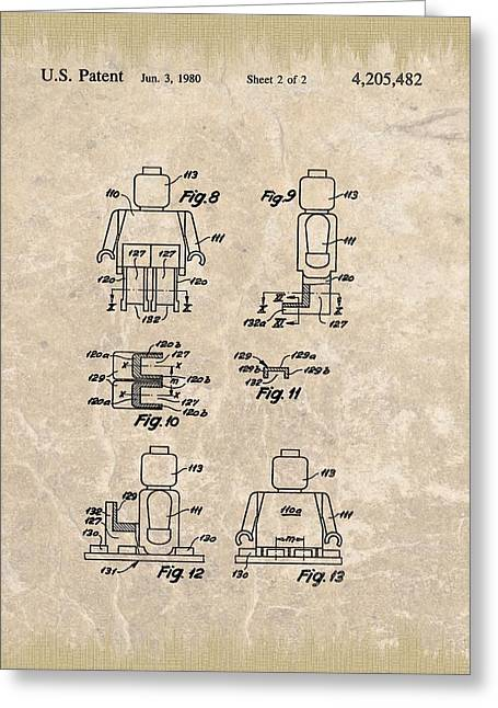 Brick Buildings Mixed Media Greeting Cards - Original Lego Man Patent Greeting Card by Dan Sproul