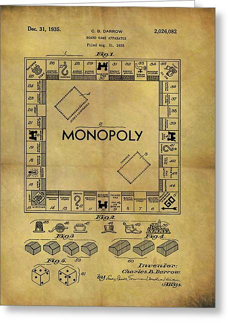Original Monopoly Board Game Patent Greeting Card by Dan Sproul