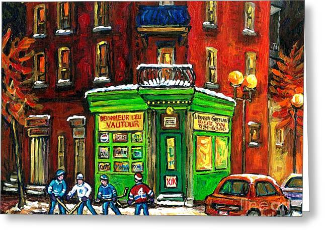 Hockey Paintings Greeting Cards - Original Montreal Winter Scene Painting For Sale Night Hockey Game Depanneur Vautour St Henri Canada Greeting Card by Carole Spandau