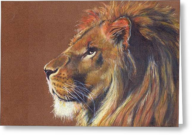 Lions Greeting Cards - Thy Kingdom Come I Greeting Card by Caroline Evans