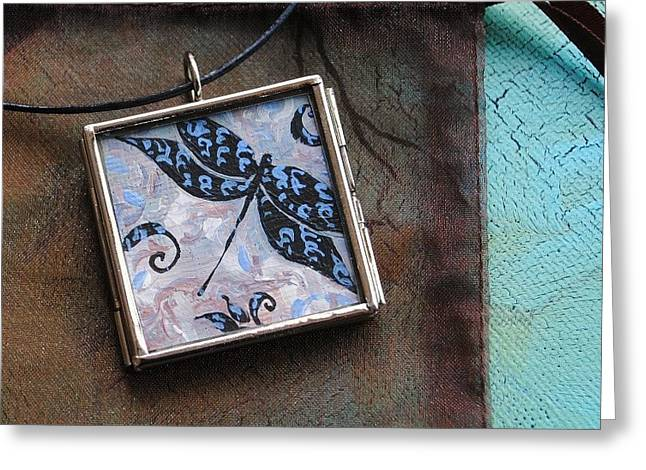 Miniature Jewelry Greeting Cards - Original Painting Urban Dragonfly Greeting Card by Dana Marie