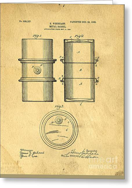 Original Patent For The First Metal Oil Drum Greeting Card by Edward Fielding