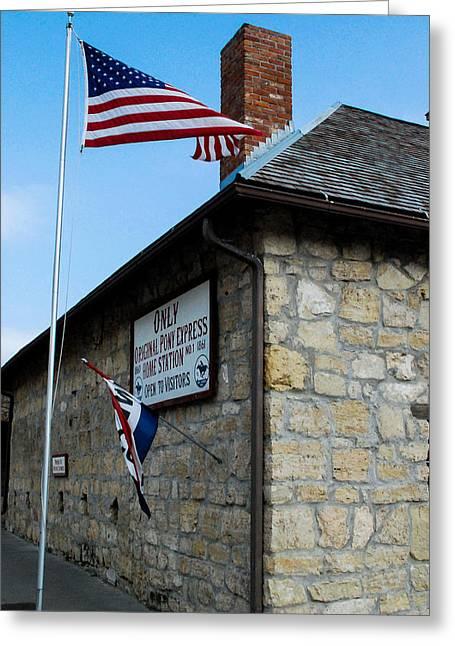 Geobob Greeting Cards - Original Pony Express Station Marysville Kansas Greeting Card by Robert Ford