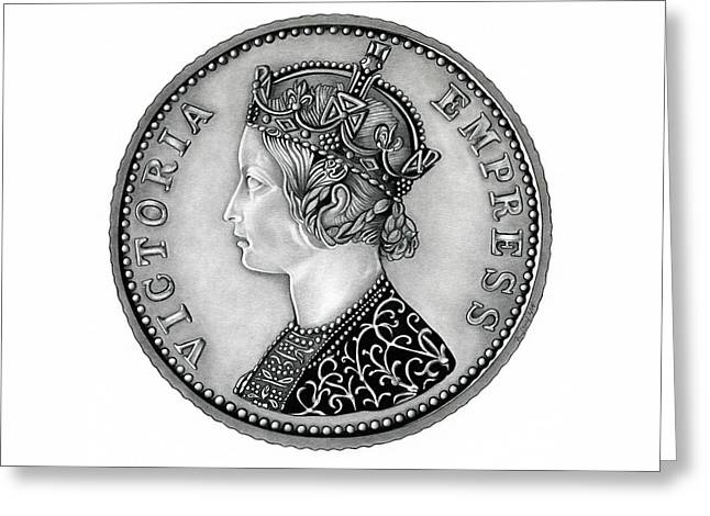 Silver Coins Greeting Cards - Original Silver Victoria Empress Greeting Card by Fred Larucci