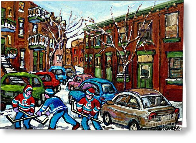 Hockey Paintings Greeting Cards - Original Street Hockey Art For Sale Rue Grand Trunk Pointe St Charles Montreal Winter Scenes Greeting Card by Carole Spandau