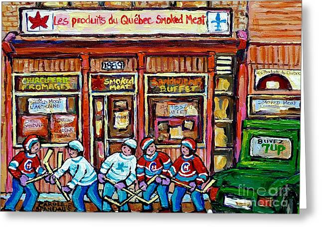 Hockey Paintings Greeting Cards - Original Street Hockey Art Paintings For Sale Les Produits Du Quebec Smoked Meat Pointe St Charles  Greeting Card by Carole Spandau