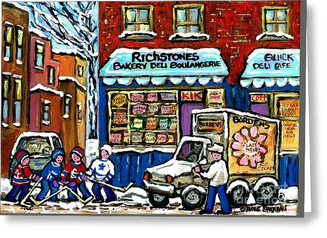 Hockey Paintings Greeting Cards - Original Winter Scene Painting For Sale Montreal Memories Richstone Bakery Bordens Milkman Hockey  Greeting Card by Carole Spandau