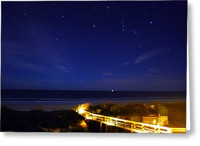 Beach At Night Greeting Cards - Orion Greeting Card by Dan  Montesi