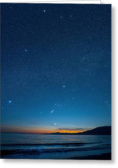 Constellations Greeting Cards - Orion Over The Georgia Strait, Canada Greeting Card by David Nunuk