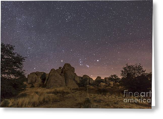 Christmas Eve Greeting Cards - Orion Rising At The City Of Rocks State Greeting Card by Alan Dyer
