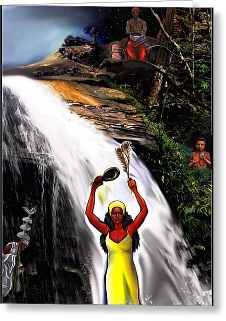 Orishas- Oshun, Obatala, Chango, Elegua Greeting Card by Carmen Cordova