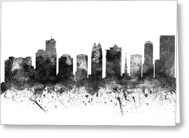 Grunge Drawings Greeting Cards - Orlando Florida Cityscape 02BW Greeting Card by Aged Pixel
