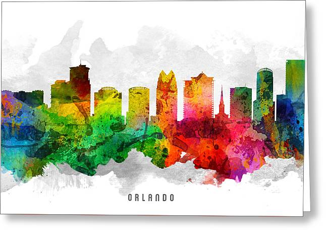 Orlando Greeting Cards - Orlando Florida Cityscape 12 Greeting Card by Aged Pixel