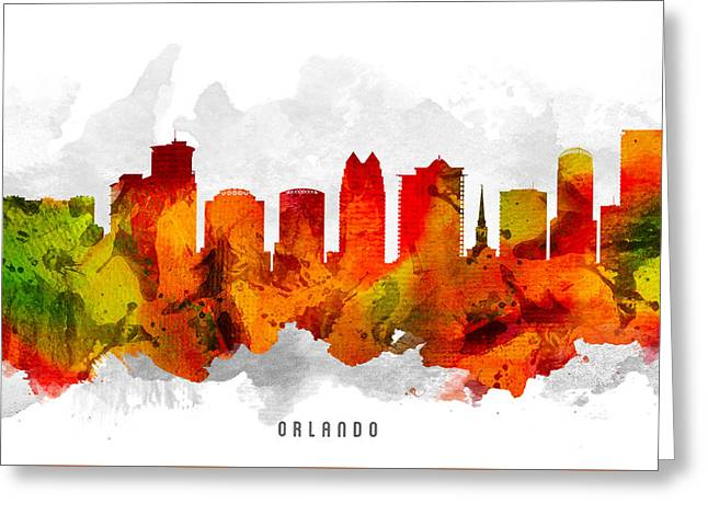 Orlando Greeting Cards - Orlando Florida Cityscape 15 Greeting Card by Aged Pixel