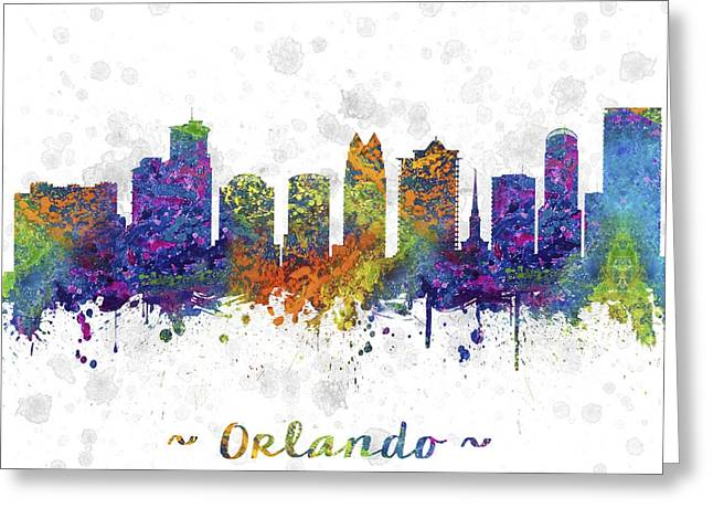 High Rise Greeting Cards - Orlando Florida Skyline Color 03SQ Greeting Card by Aged Pixel
