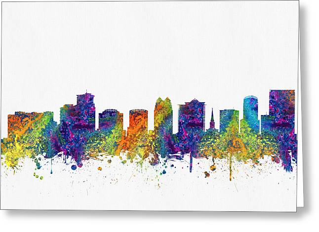 Orlando Greeting Cards - Orlando Florida Skyline color03 Greeting Card by Aged Pixel