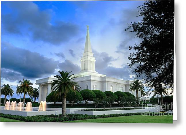 Orlando Greeting Cards - Orlando LDS Temple Greeting Card by Laurent Lucuix