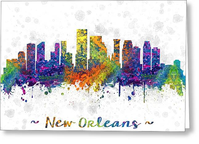 High Rise Greeting Cards - Orleans Louisiana color 03SQ Greeting Card by Aged Pixel