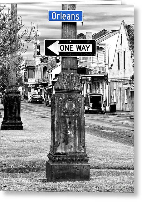 Photo Art Gallery Greeting Cards - Orleans One Way Fusion Greeting Card by John Rizzuto
