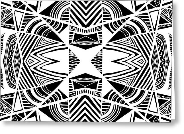 Geometric Artwork Drawings Greeting Cards - Ornamental Intersection - Abstract Black And White Graphic Drawing Greeting Card by Nenad  Cerovic