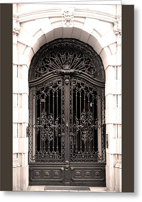 Belle Epoque Reliefs Greeting Cards - Ornamental Iron Gate Budapest Greeting Card by James Dougherty