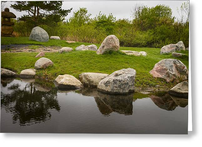 Pond In Park Greeting Cards - Ornamental Japanese Garden Greeting Card by Donald  Erickson