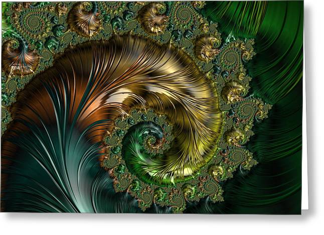Green Abstract Greeting Cards - Ornamental Shell Abstract Greeting Card by Georgiana Romanovna