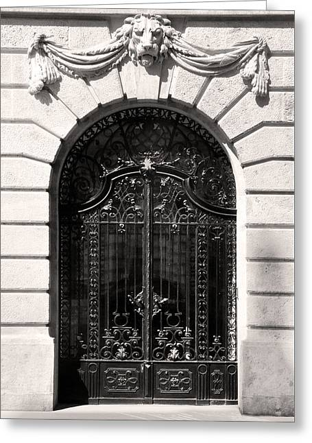 Belle Epoque Reliefs Greeting Cards - Ornamental Wrought Iron Doors with Lion Budapest Greeting Card by James Dougherty