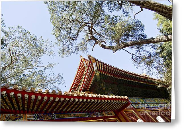 Historical Images Greeting Cards - Ornate Chinese Rooftop Greeting Card by Ray Laskowitz - Printscapes