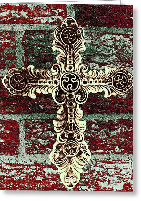 Iron Greeting Cards - Ornate Cross 1 Greeting Card by Angelina Vick