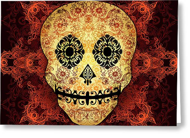 Calaveras Greeting Cards - Ornate Floral Sugar Skull Greeting Card by Tammy Wetzel