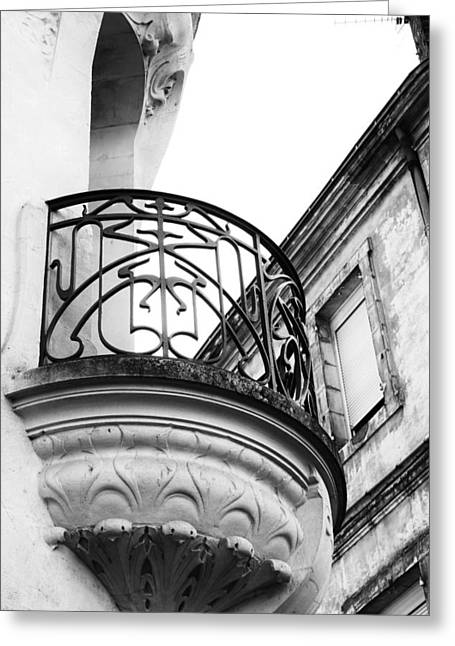 South West France Photographs Greeting Cards - Ornate French Balcony in Mono Greeting Card by Georgia Fowler
