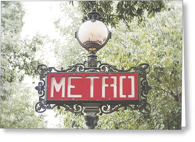 Ornate Paris Metro Sign Greeting Card by Ivy Ho