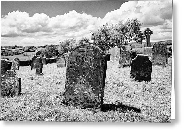Headstones Greeting Cards - Ornate18th Century Headstones In Tydavnet Old Cemetery County Monaghan Republic Of Ireland Greeting Card by Joe Fox