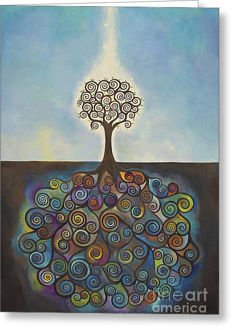 Tree Roots Paintings Greeting Cards - Origin Greeting Card by Manami Lingerfelt